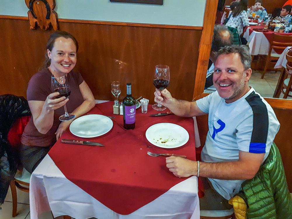 Engagaement celebration meal at 'Parilla La Estancia', Ushuaia - AvVida.co.uk