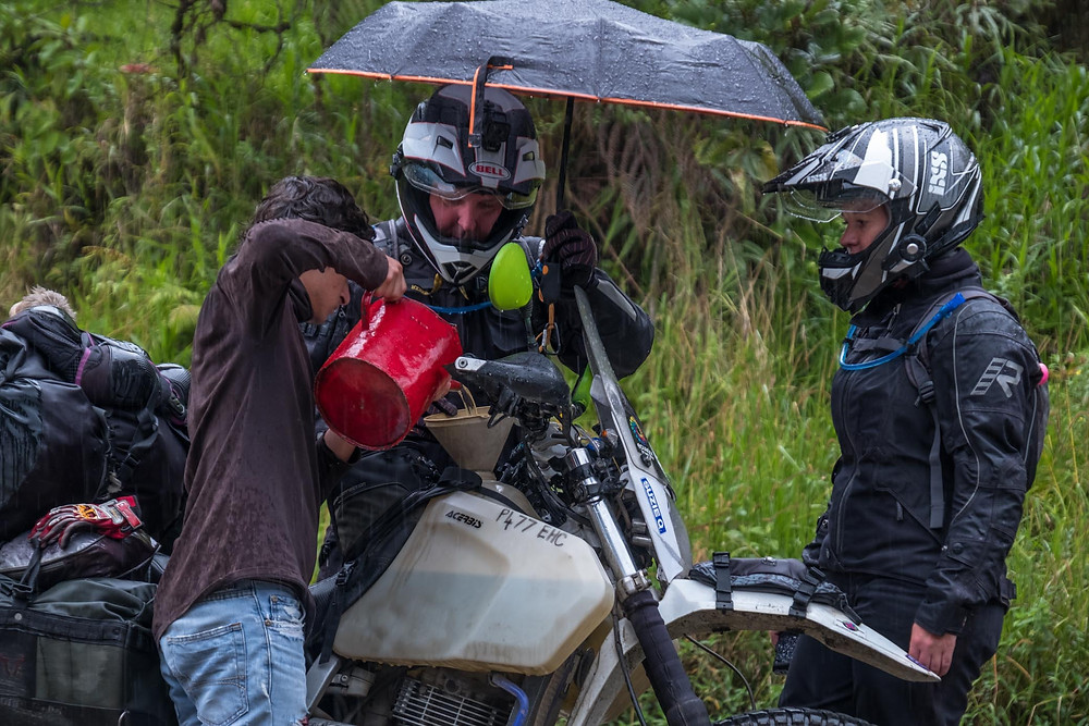 Guglatech fuel filter doing it's job in a remote Ecuadorian village in the rain