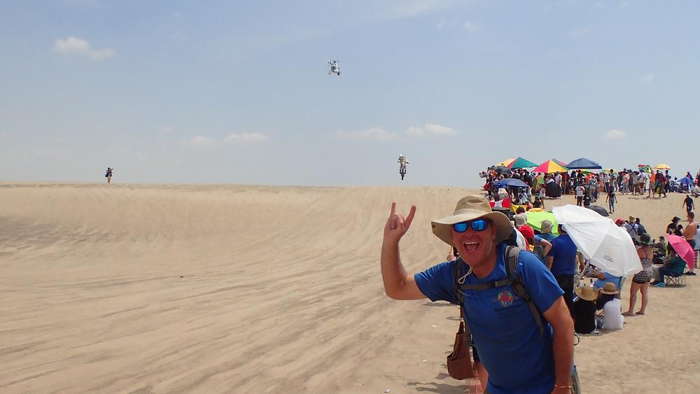 Kelvin loving air time at the Dakar 2018