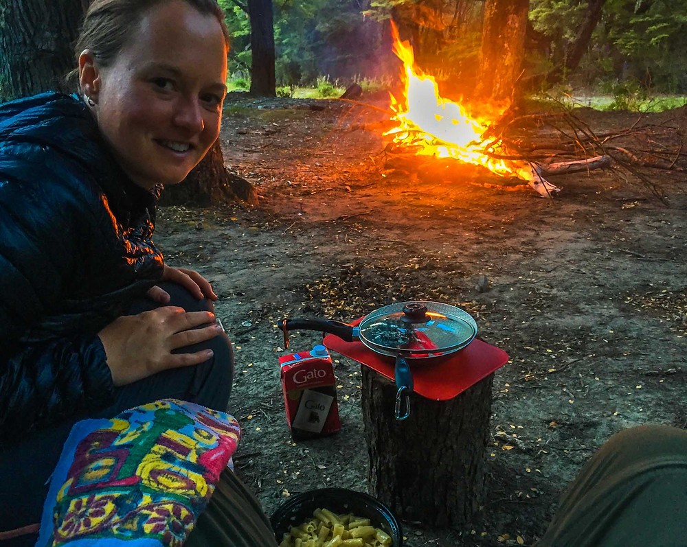 Cooking in our wild camp next to the forest by Rio Murta, Carretera Austral, Chile - AvVida.co.uk