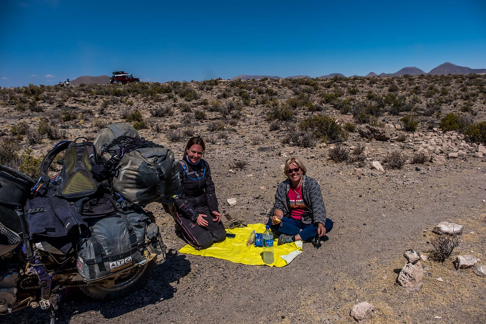Having a mini picnic with Kirsi near the meteor, Bolivia - AvVida.co.uk