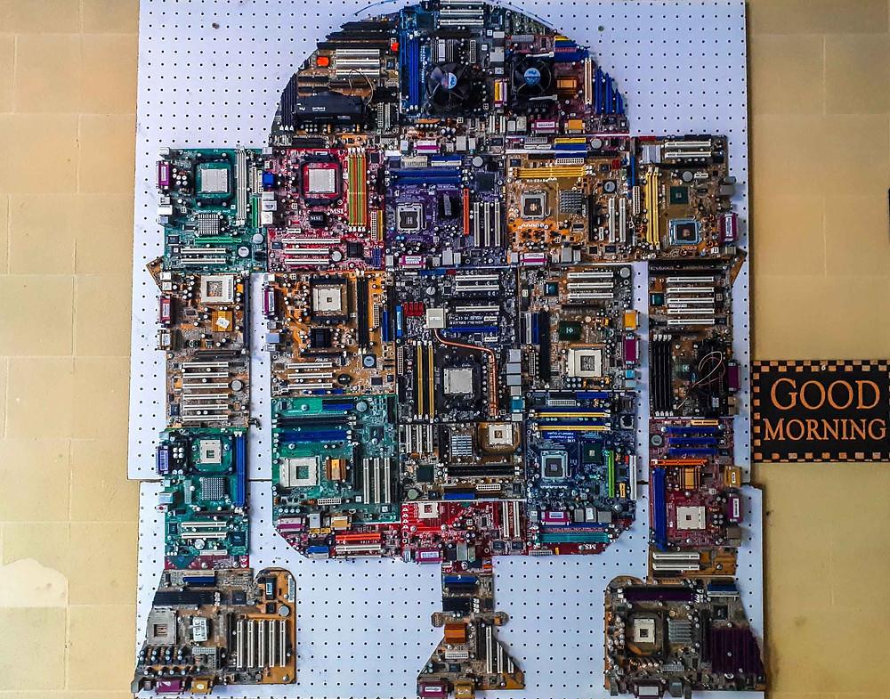 A2D2 at Sosahaus Hostel made out of computer boards - AvVida.co.uk