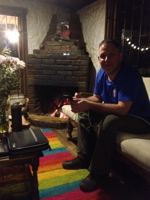 Kelvin enjoying the fire and wifi