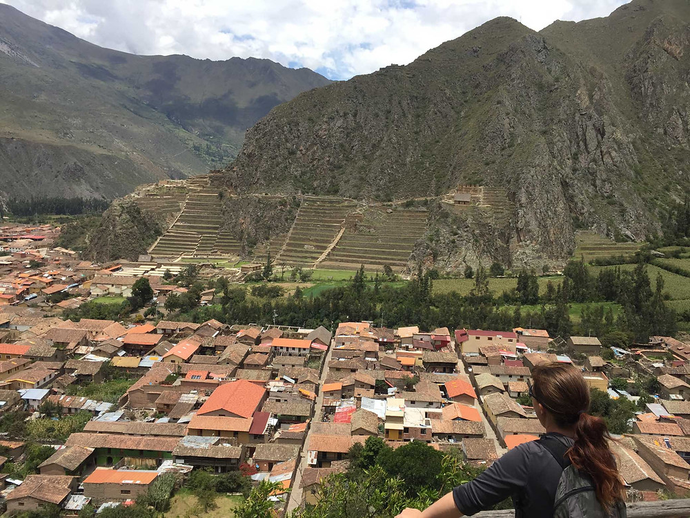 Ollaytaytambo - looking across the houses to the main archaeological site.