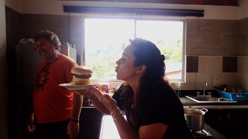 Homemade Burgers! Elsebie sowing the love!
