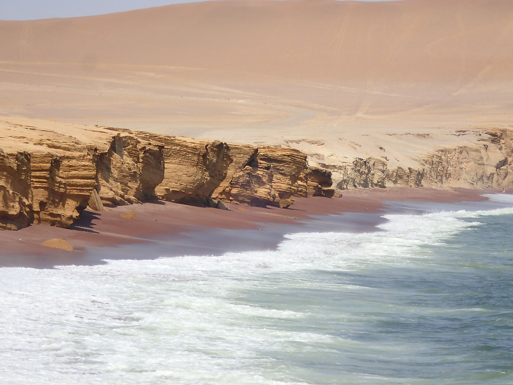 The beautiful red beach in Paracas NP