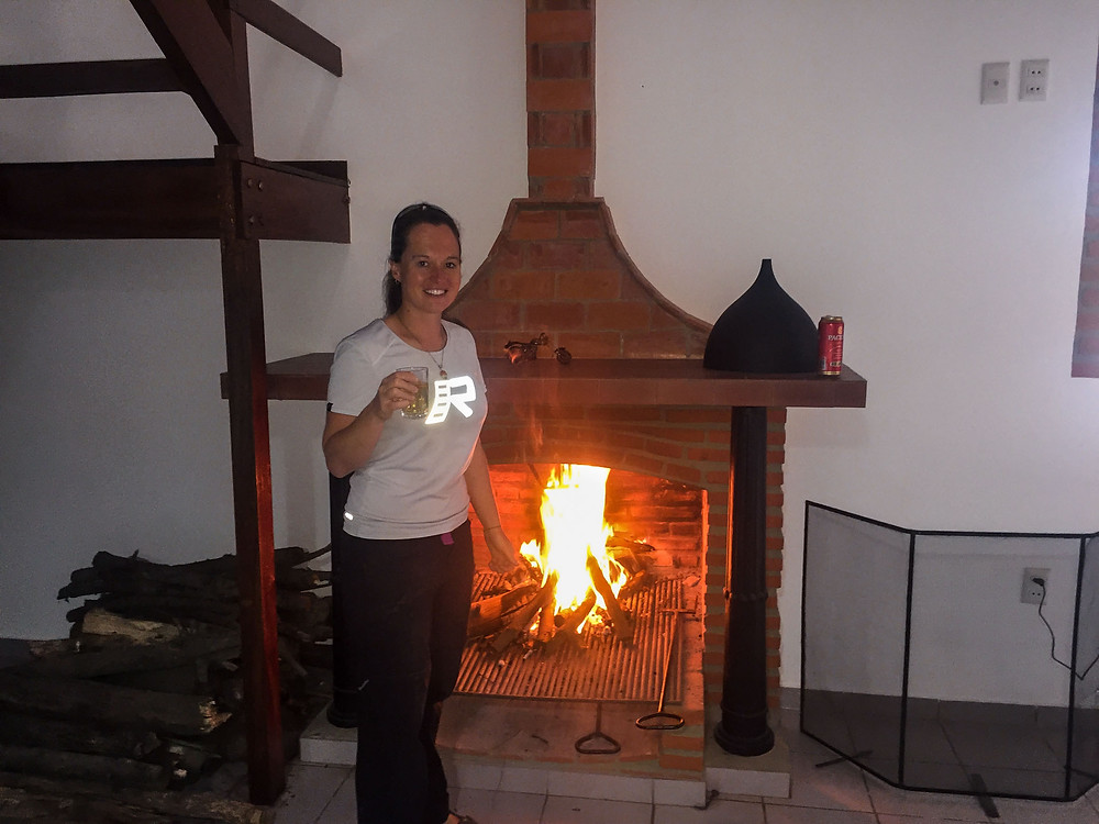 Suzie enjoying some Bolivian wine and the nice fire - Picture by AvVida.co.uk #RukkaMotorsport