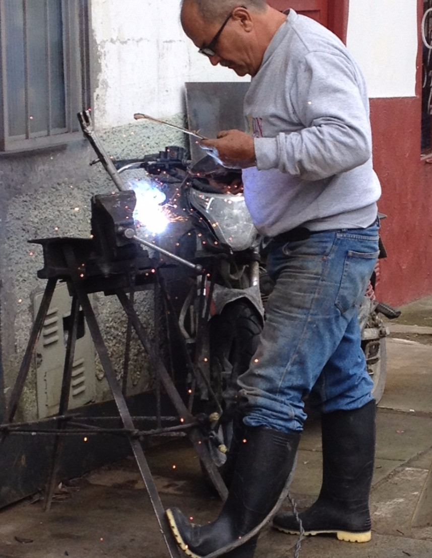 Javier the welder with a questionable welding mask!