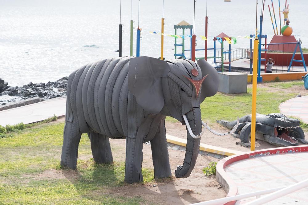 An elephant made of old tyres, Ilo, Peru - AvVida.co.uk