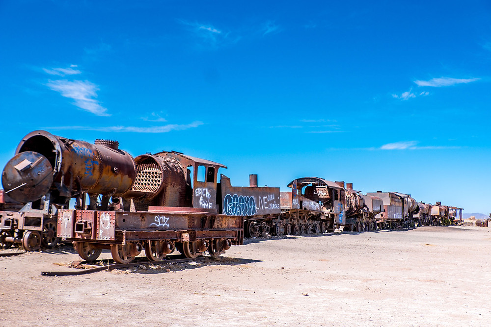 Trains in Uyuni Train Cemetry - AvVida.co.uk