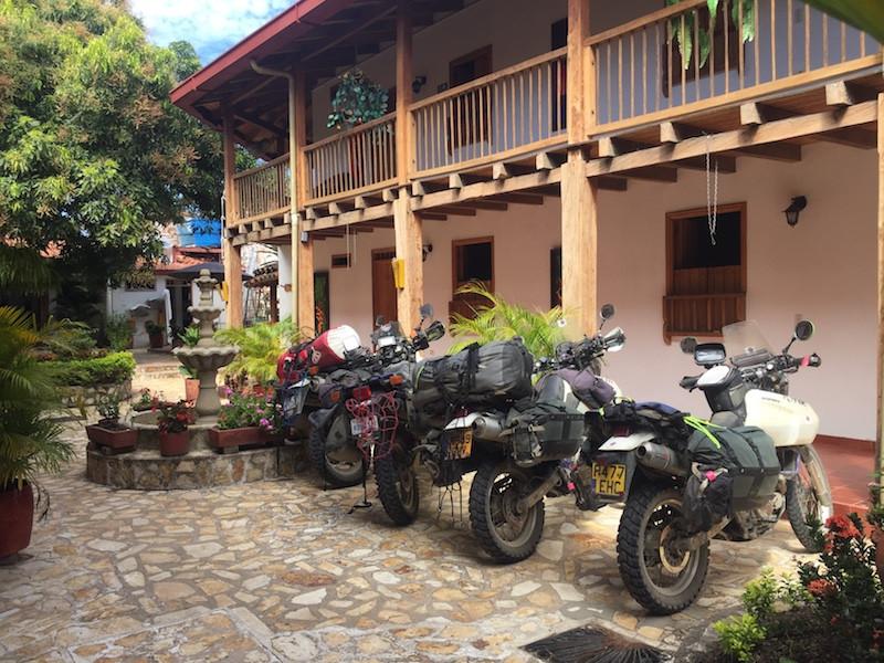 Bike's in hotel courtyard