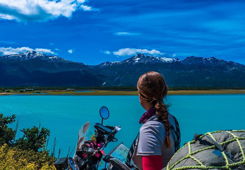 Suzie taking a break to admire Lago Carrera, Carretera Austral - AvVida.co.uk