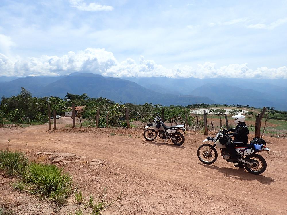 Kelvin on his DR650 between Barichara and San Gil