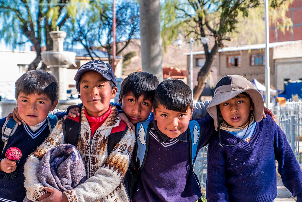 Lovely School Kids in village North of Salt flats, Bolivia - AvVida.co.uk