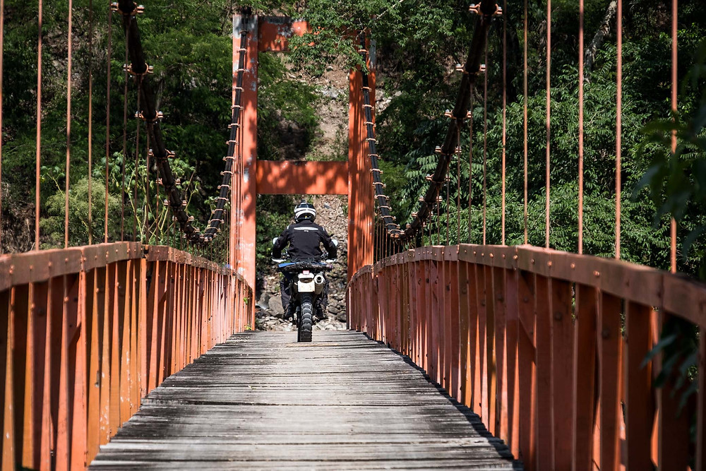 Kelvin crossing a local bridge. Picture by Michnus Olivier