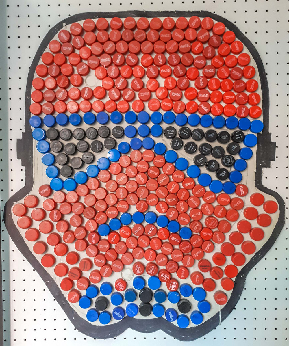 Storm Trooper made of Coca Cola bottle tops at Sosahaus Hostel, Mendoza - AvVida.co.uk