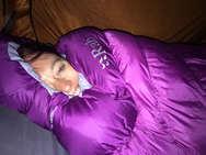 Suzie in her new warm RAB sleeping bag