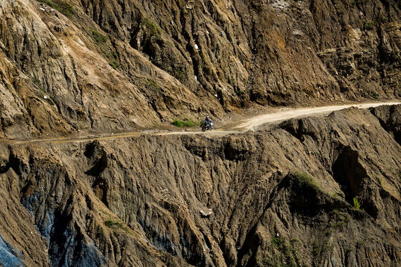 Riding on a cliff road