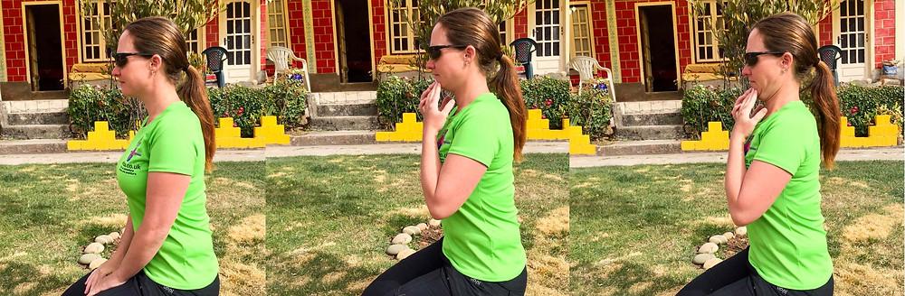Neck retractions - deep neck flexor exercise. AvVida.co.uk - Suzie Says...