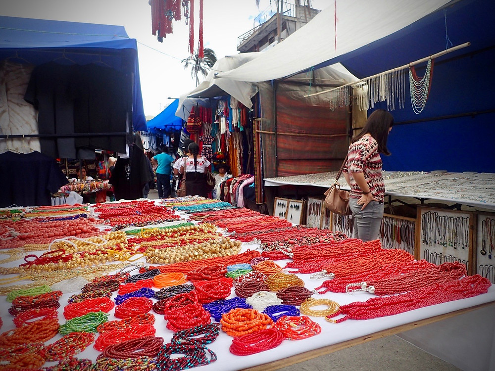 Otavalo market - a very colourful affair, especially on a saturday.