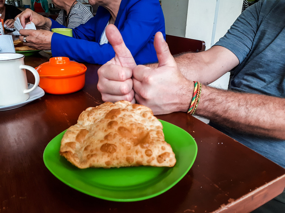 Yummy cheese pasty in central market, Tarija, Bolivia. AvVida.co.uk