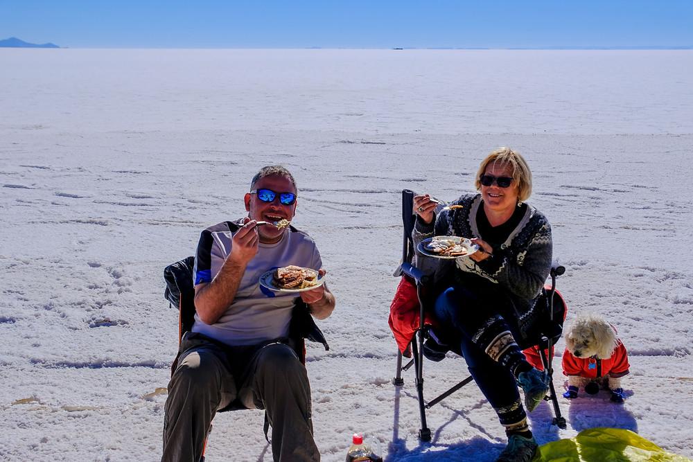 Kelvin and Kirsi enjoying Pancakes and bacon - AvVida.co.uk