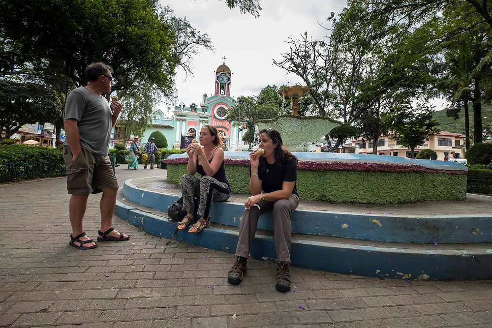 Kelvin, Elsebie and I in Vilcabamba square. Photo by Michnus Olivier.