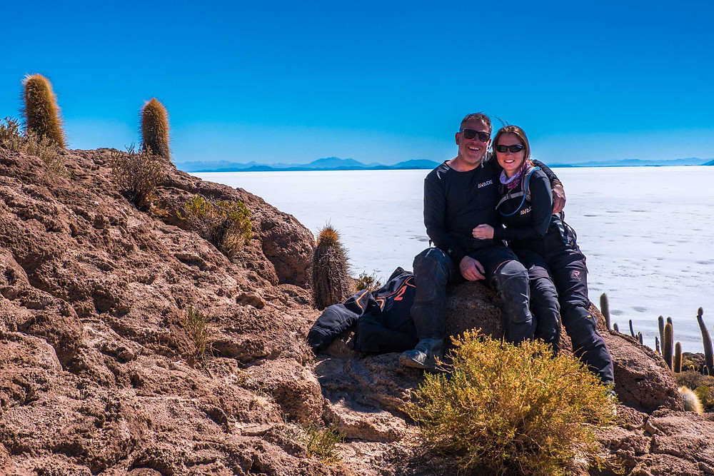Kelvin and I, Isla Inkahuasi, Bolivia Salt Flats - AvVida.co.uk