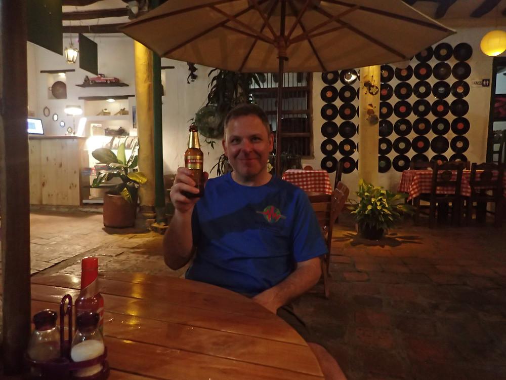 Kelvin enjoying a well deserved lager in Sam's Grill/Mansion