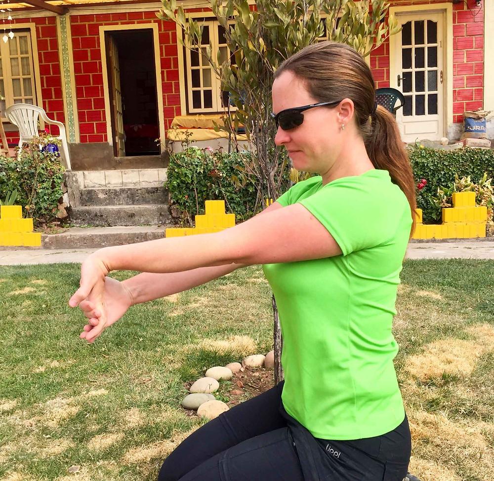 Wrist flexor stretch. AvVida.co.uk - Suzie Says...