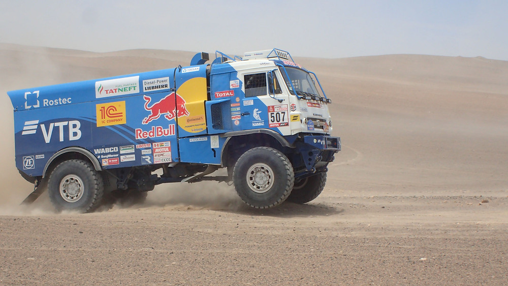 Kamaz Redbull truck ploughing a new course
