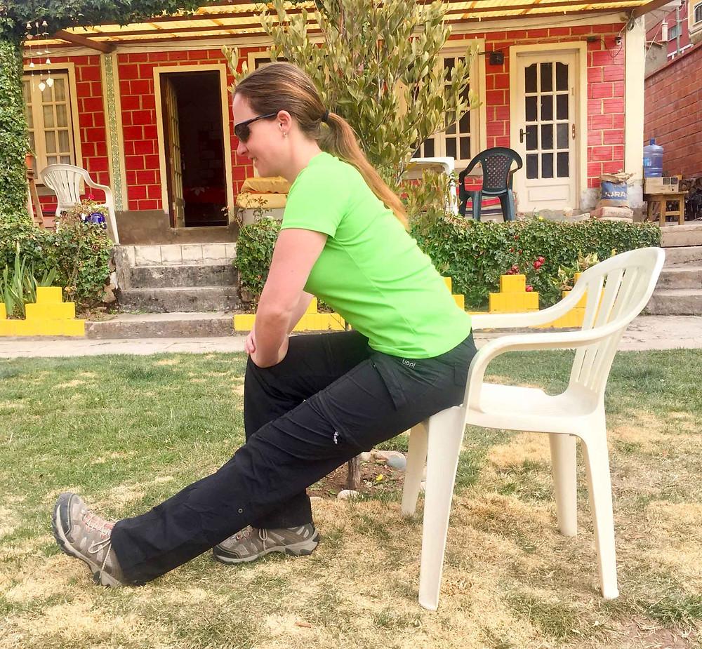 Seated Hamstring stretch.  AvVida.co.uk - Suzie Says...