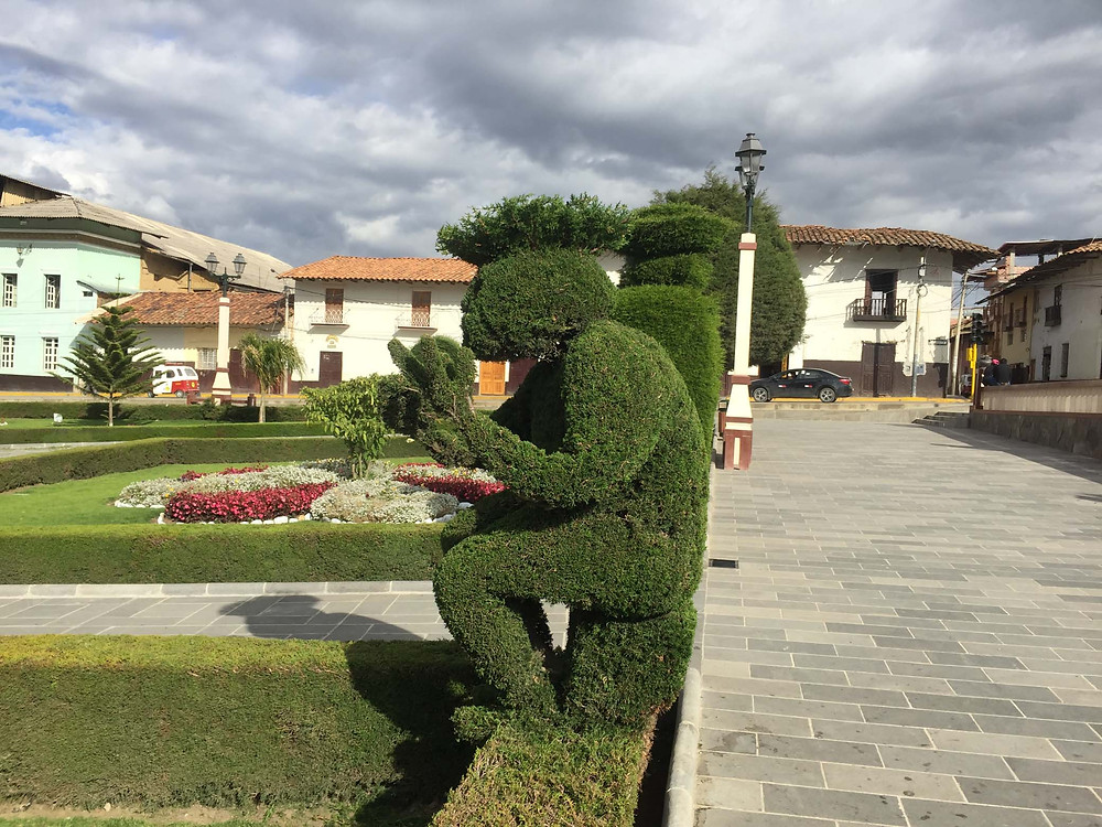One of the many sculptures in Huamachuco plaza. Photo by Suzie Bostock.