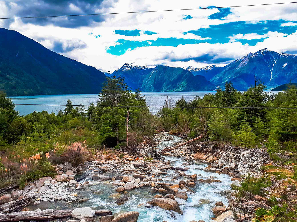 Crossing a river leading down to another lake on the Carretera Austral - AvVida.co.uk