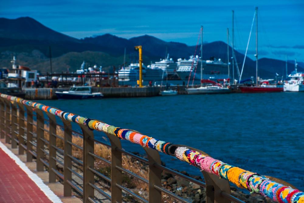 Beautiful knitted railing covers in Ushuaia - AvVida.co.uk