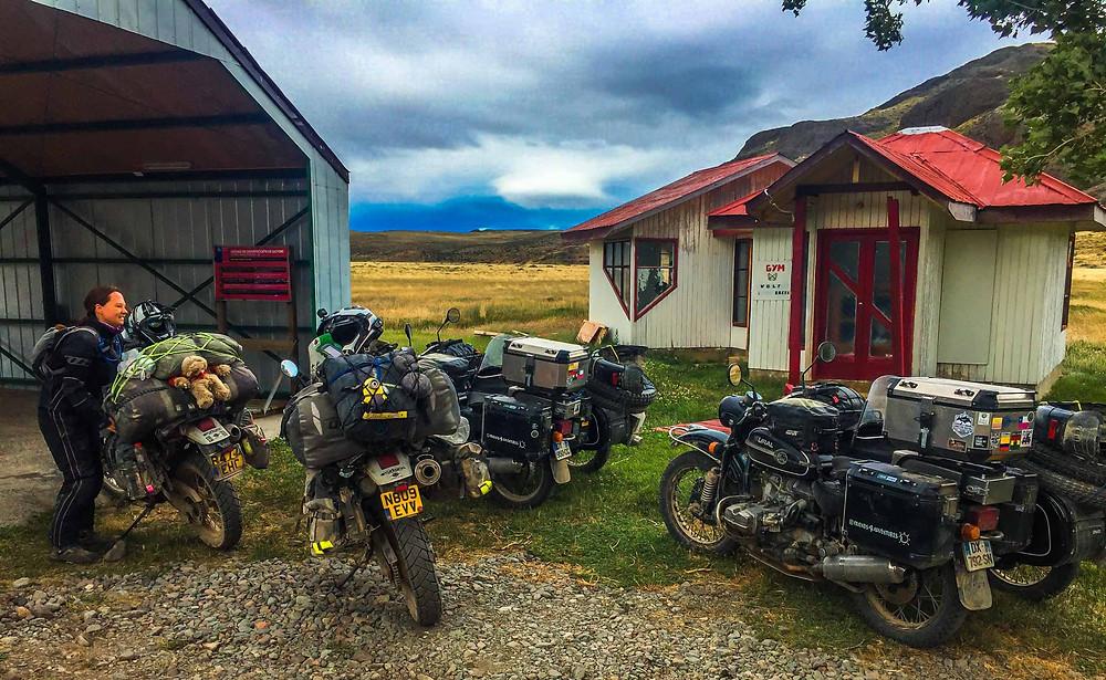 Suzie at the Chilean Border, Paso Rebollos, with the Urals - AvVida.co.uk