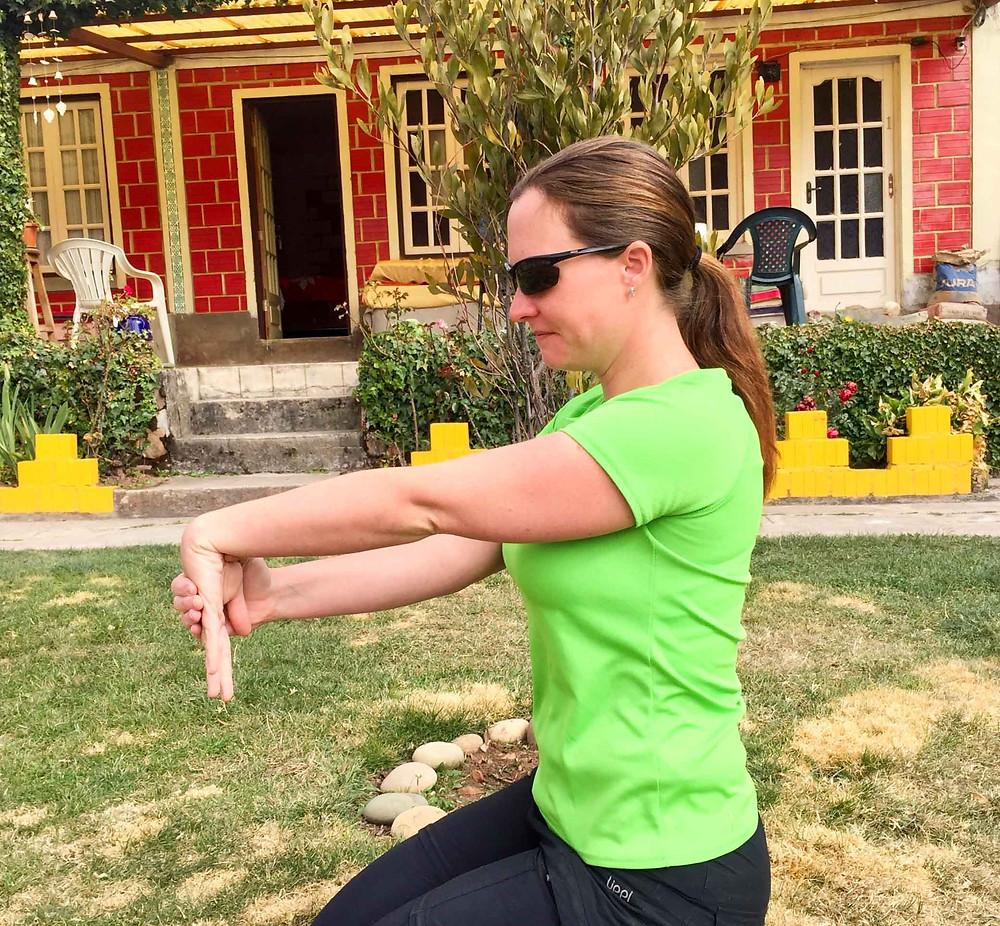 Wrist extensor stretch. AvVida.co.uk - Suzie Says...