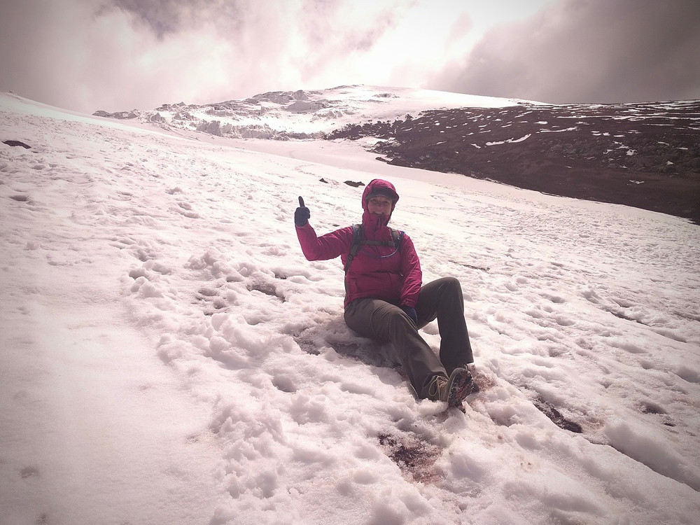 Me on the slopes of Cotopaxi. Photo by Steve Perez.