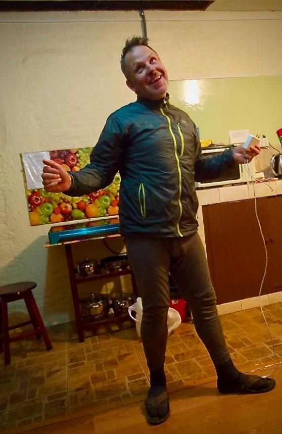 Kelvin in his biking under-garments feeling happy.