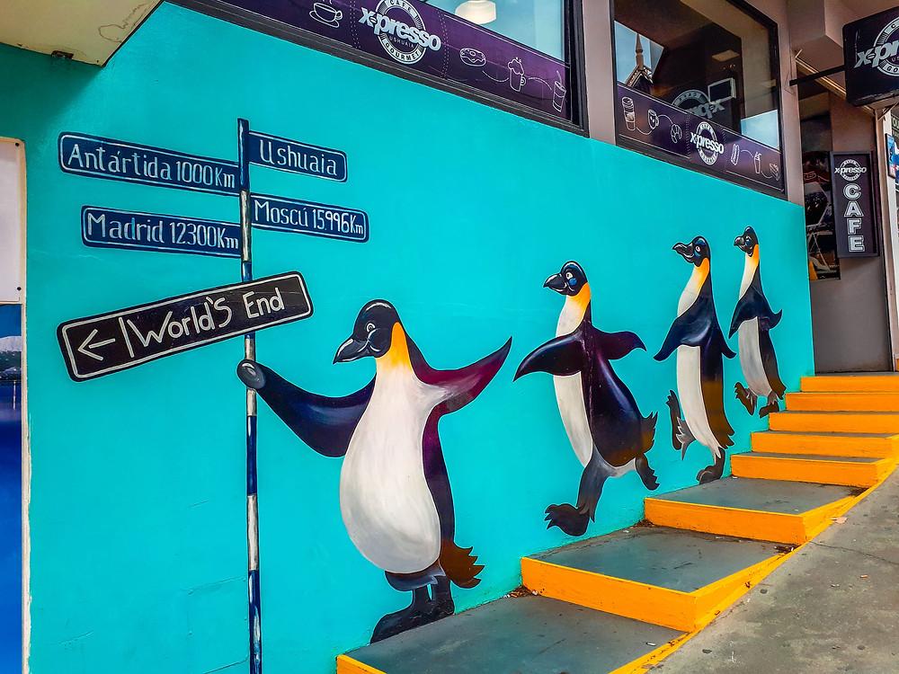 Happy Penguin March mural in Ushuaia - AvVida.co.uk