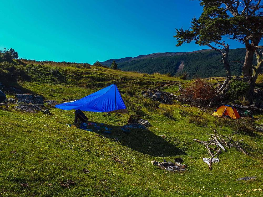 Our little camp set-up wild camping on Ruta J - AvVida.co.uk