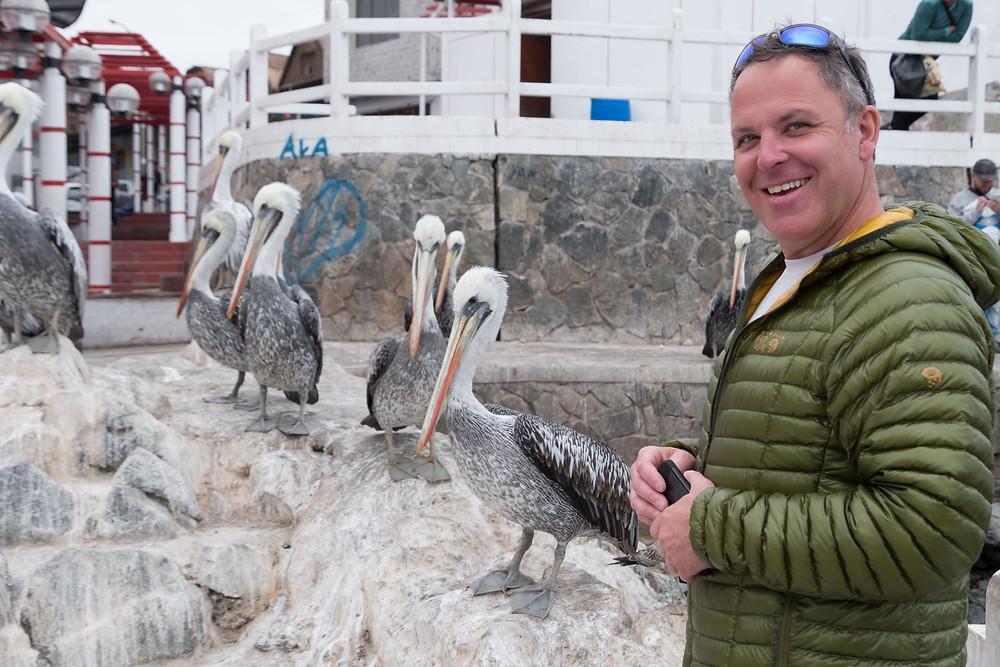 Kelvin with the Pelicans, Ilo, Peru - AvVida.co.uk