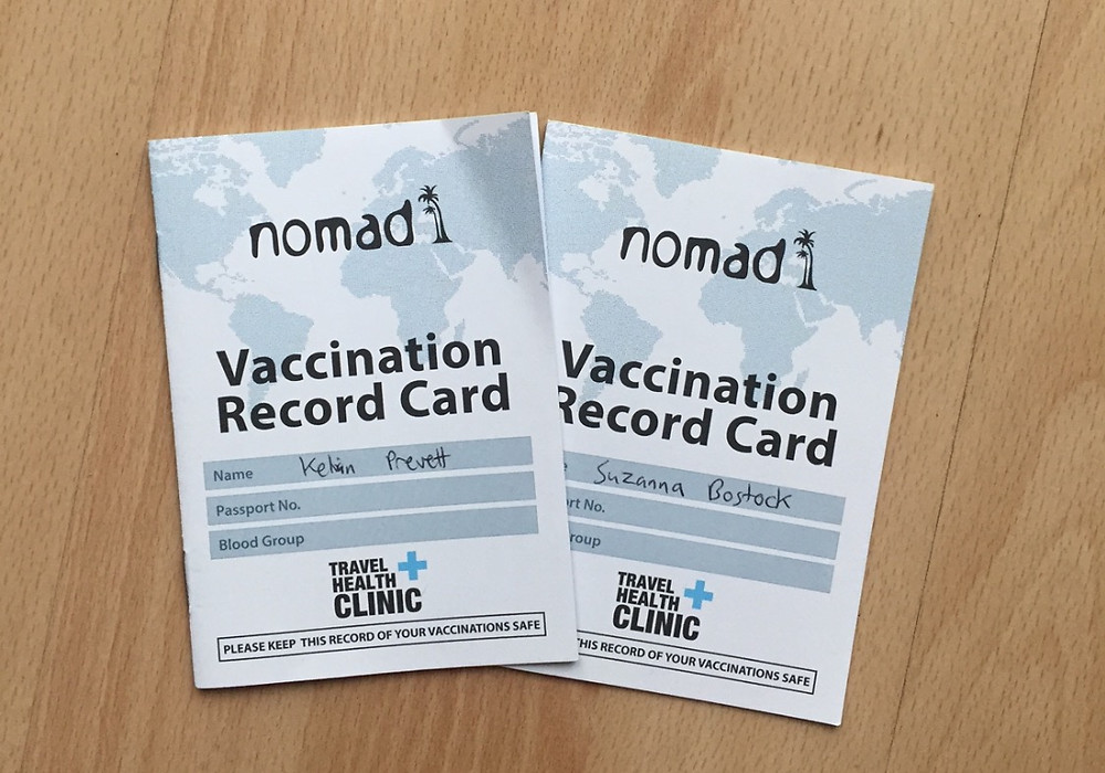 Vaccinations record cards