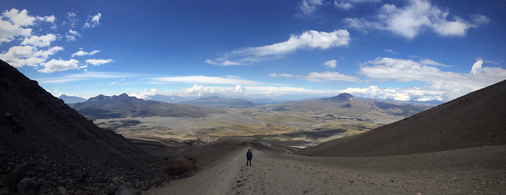 Amazing view hiking down Cotopaxi.