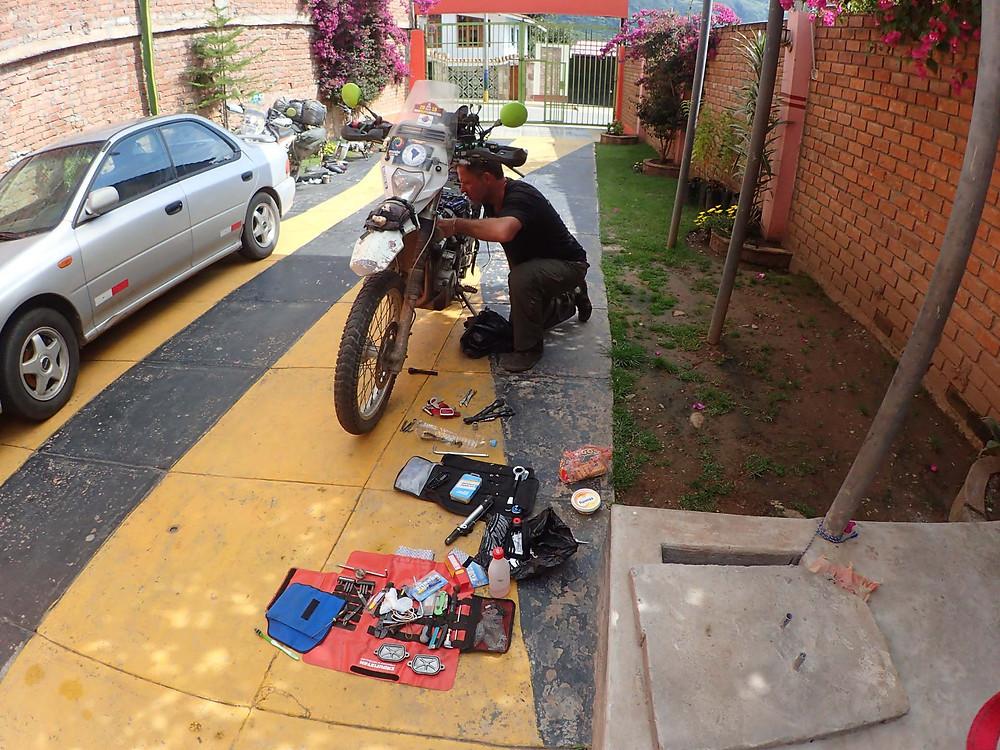Kelvin working on my bike