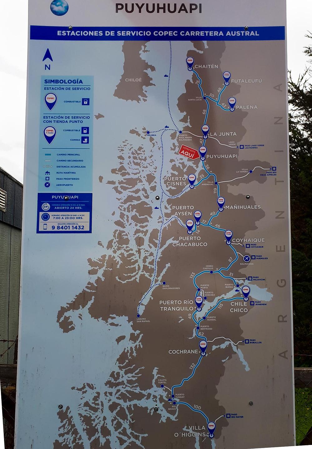 Puyuhuapi Copec Station Map; reassuring us of fuel availability on route! - AvVida.co.uk