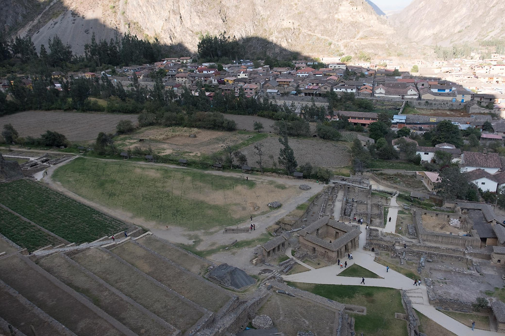 A view from the top of Ollaytaytambo ruins.  AvVida.co.uk. Photo by Suzie Bostock.