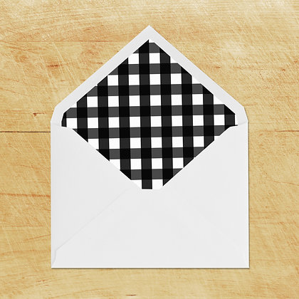 Lined Envelopes - Black Check (10)