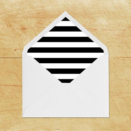 Lined Envelopes - Black Stripe (10)