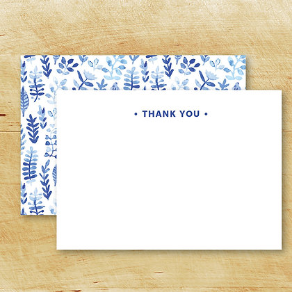BLUE Thank You Note Cards (Set of 15)